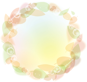 Round frame of blurred leaves