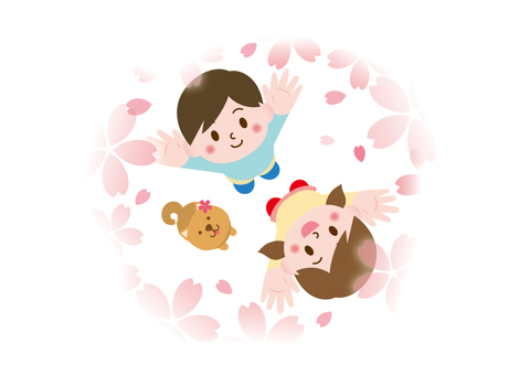 Children looking up at the cherry blossoms _ Illustration 01