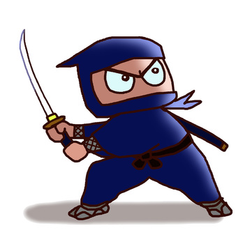 A ninja who holds a sword