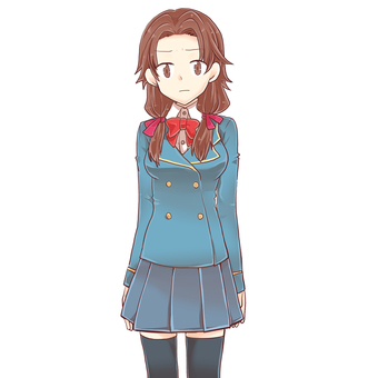 Uniform girl standing picture (angry)
