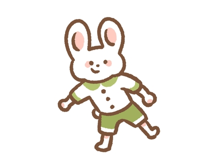 Rabbit dressed in clothes