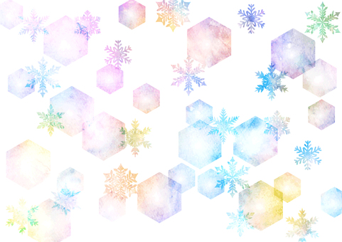 Watercolor style colorful snowflake background