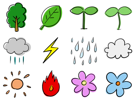 Doodle style handwritten illustration set (weather nature)