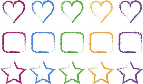 Colorful frame set 2 star heart square