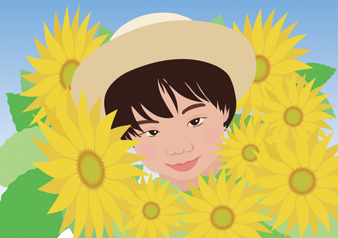 A sunflower and a girl