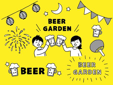 Beer garden set monochrome (simple)