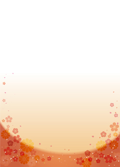 Japanese style background (plum, chrysanthemum) vertical