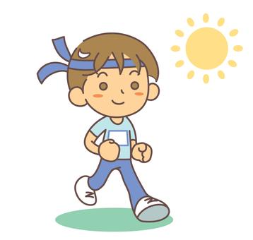 跑馬拉松種族的男孩