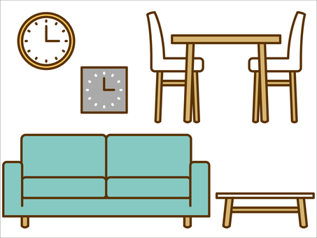 Furniture (sofa, table, watch)