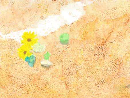 Watercolor sand beach under wave flower
