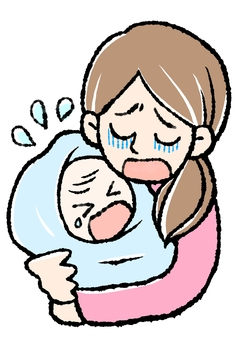 Crying baby and mom