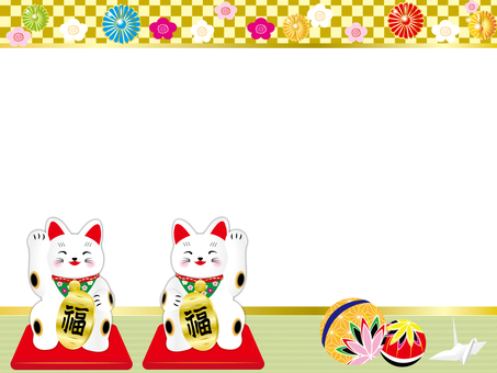 Frame of lucky cat and ball