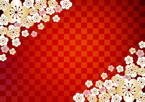 Plum _ lattice _ red _ background