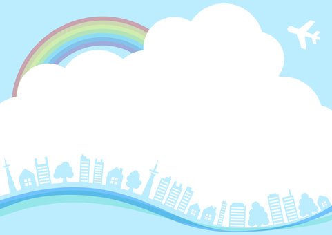 Blue sky with rainbow, airplane, tree and building landscape frame border