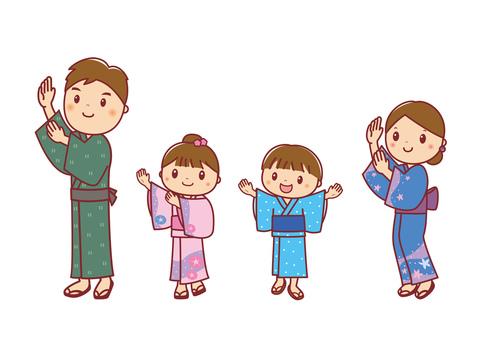 Illustration of Bon festival dance, yukata figure