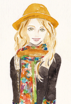 Watercolor painting Female blonde fashion