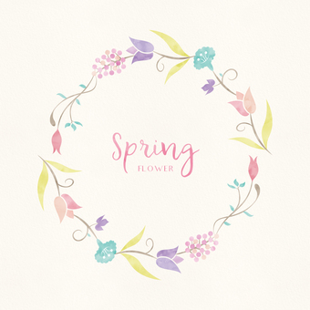 Spring background frame 014 watercolors garland