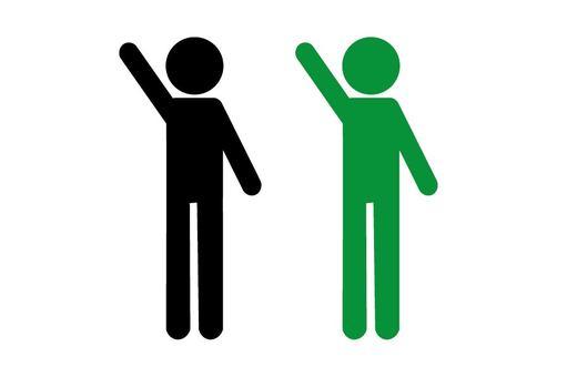 Person raising one hand pictogram