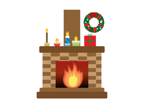 Illustration of a fireplace