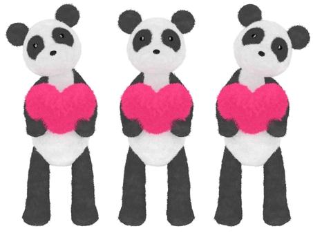 Panda plush heart