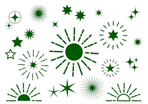 진한 녹색 광선 반짝 배경 소재