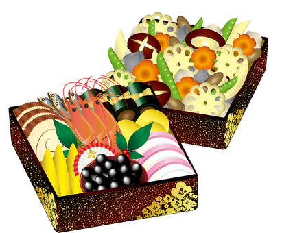 Illustration of osechi and boiled shrimp boxes