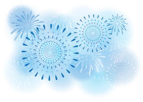 Blue Sky Fireworks Illustration