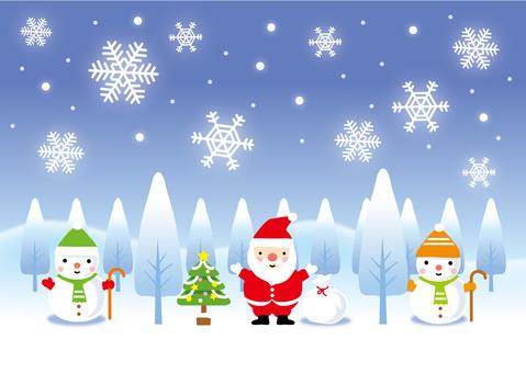 산타와 눈사람의 풍경