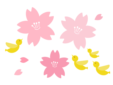 Cherry blossoms and yellow birds