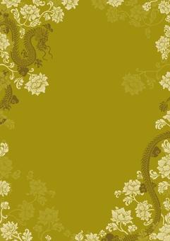 中華風 龍と花柄