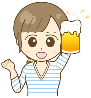 Female toast with draft beer!