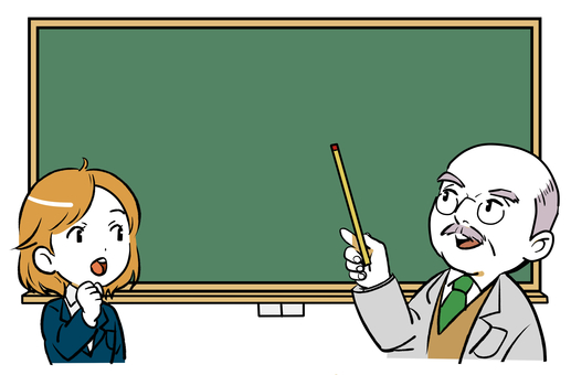 Teacher and student pointing at blackboard