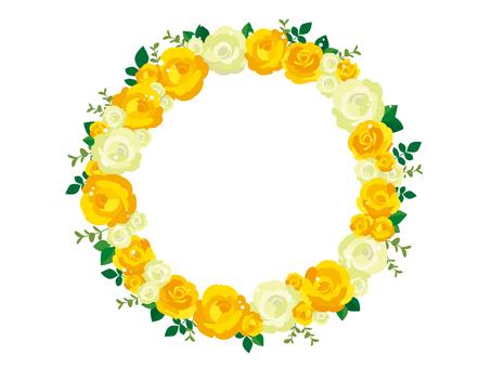 黄色バラのリースのイラスト1