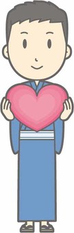 Yukata male - Heart - whole body