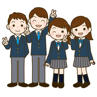 High school student 4 men and women