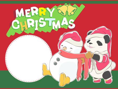 メッセージカード-パンダクリスマス