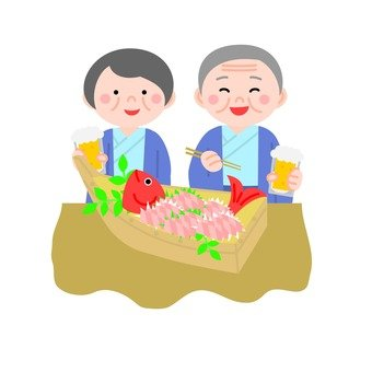 Meal at the elderly couple / inn