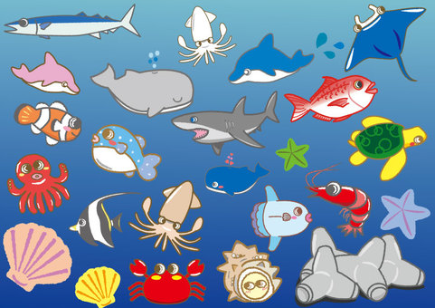 A collection of cute sea creatures 02