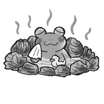 Hot spring frog monochrome