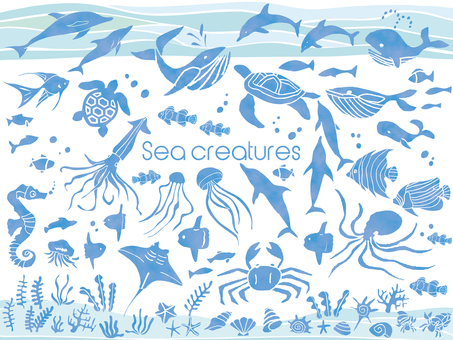 Summer sea creatures silhouette seafood icon ornament