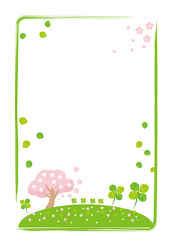 Clover and cherry blossoms (vertical)