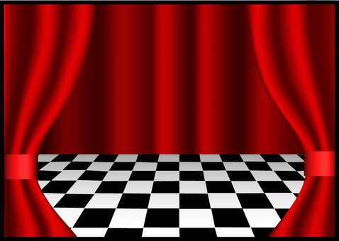 A checkerboard stage