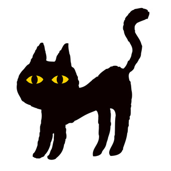 Black cat hand drawn illustration halloween