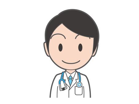 年輕的醫生,用聽診器腰上部
