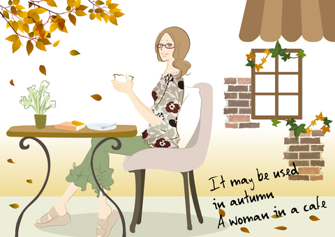 Illustration of a woman relaxing at a cafe