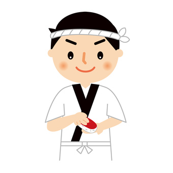 Sushi chef upper body illustration