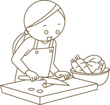 A woman cooking