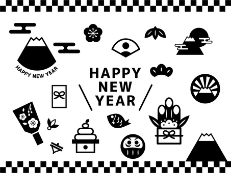 New Year's icon set