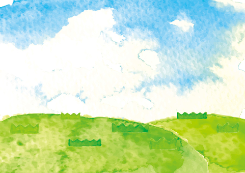Watercolor style lawn and sky