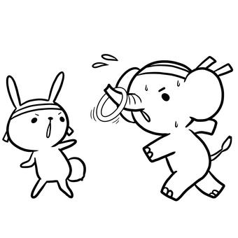 Athletic meeting ring baton relay animal rabbit statue drawing
